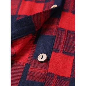 Plus Size Checked Pockets Long Sleeves Shirt -