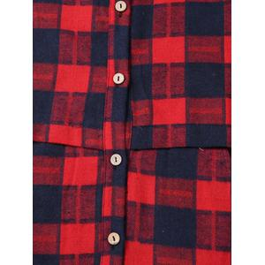 Plus Size Checked Pockets Long Sleeves Shirt - RED 4XL
