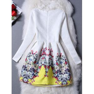 Chic Round Collar Floral Print Slimming Women's Dress - WHITE M