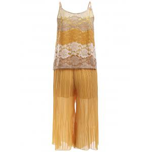 Lace Tank Top and Pleated Elastic Waist Palazzo Pants -