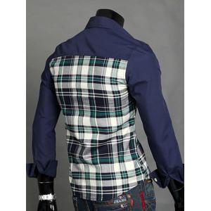 Patchwork Desigh Turn-Down Collar Long Sleeve Plaid Shirt For Men -