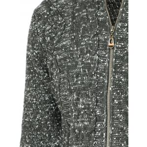 Heathered Braid Zip Up Long Sleeve Cardigan For Men - DEEP GRAY 2XL