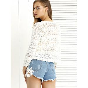 Trendy Ripped Fringe Lace Spliced Denim Shorts -