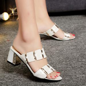 Trendy Block Heel and Metal Design Slippers For Women -