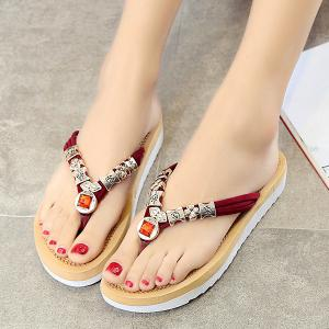 Simple Suede and Artificial Stone Design Slippers For Women -