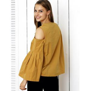 Cute Cold Shoulder Bell Sleeve Blouse -