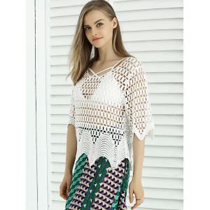 Sweet Wave Hem Lace Crochet See-Through Cover Up -