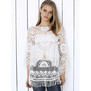 Sweet Anaglyph Crochet Fringe See-Through Cape Blouse -