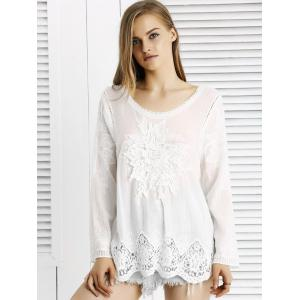 Chic Lace Crochet Trim See-Through Floral Spliced Blouse -