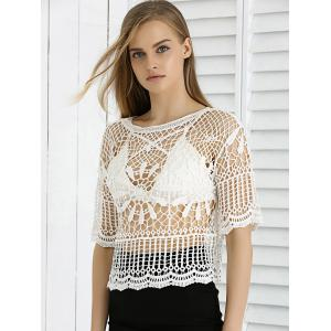 Sweet Lace Crochet See-Through Cropped Cover Up -