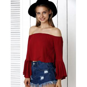 Off-The-Shoulder Flare Sleeve Crop Top -