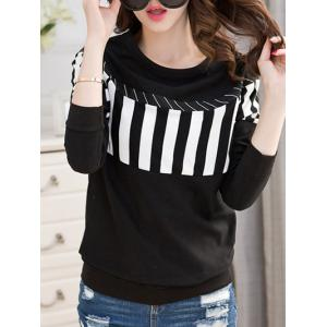 Striped Crew Neck T-Shirt - BLACK 2XL
