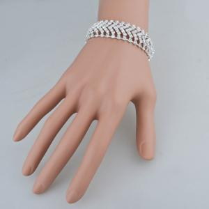 Cut Out V Shaped Rhinestone Bracelet -