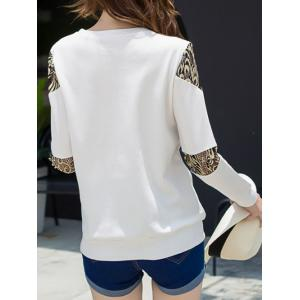 Lace Panel Long Sleeve Crew Neck T-Shirt - WHITE 2XL
