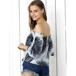 Sweet Shirred Leaf Print Crop Top -