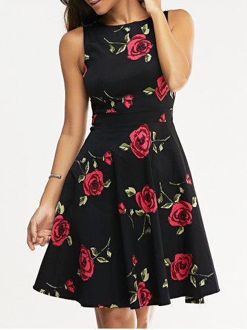 Buy Retro Style Sleeveless High Waist Floral Print Women's Dress