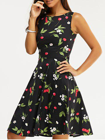 Trendy Vintage Sleeveless High Waist Cherry Print Women's Dress