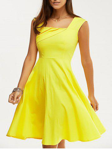 Latest Retro Women's Pure Color Ruched Flare Dress YELLOW 2XL