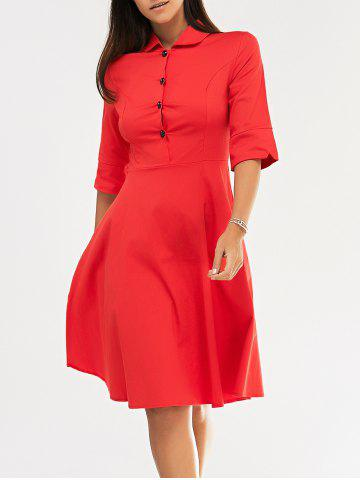 Shop Retro Women's Pure Color Buttoned Flare Dress RED 2XL