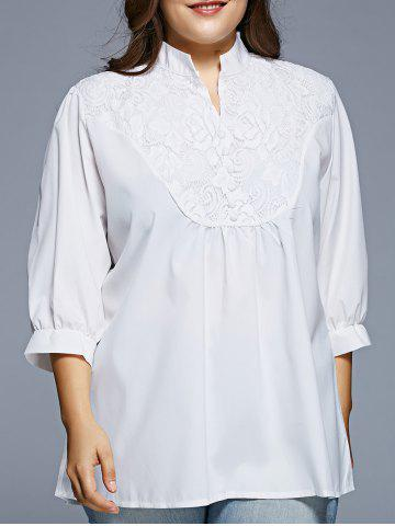 Grace Lace Splicing 1/2 Sleeve Women's Plus Size Blouse - White - Xl