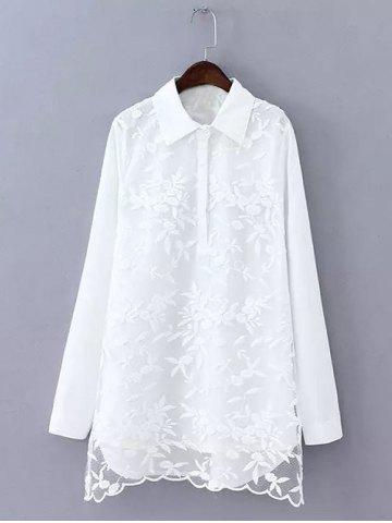 Best Plus Size Sweet Flower Embroidered Long Shirt WHITE 4XL