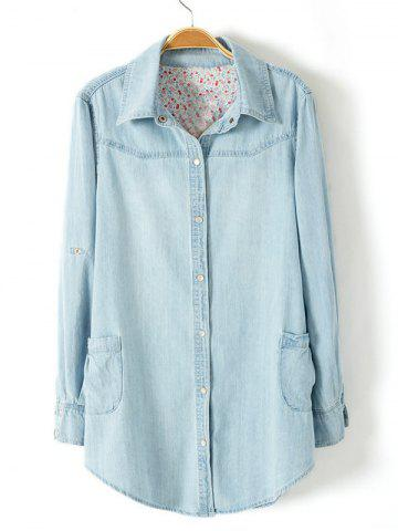 Best Plus Size Trendy Adjustable Sleeve Longline Chambray Shirt LIGHT BLUE 3XL