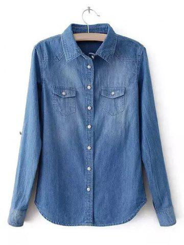 Oversized Brief Distressed Pockets Design Denim Shirt - DEEP BLUE 4XL