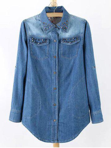 Outfits Plus Size Chic Stud Embellished Denim Tunic Shirt