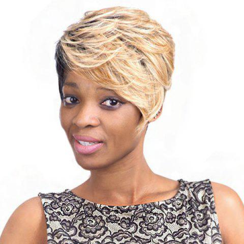 Mixed Color Fashion Short Fluffy Curly Side Bang Women's Synthetic Hair Wig - Colormix