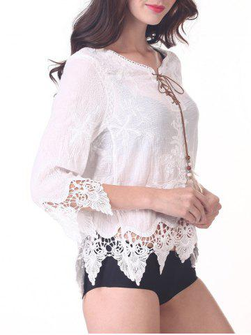 Shops Chic 3/4 Sleeve Lace-Up Asymmetric Cover-Up