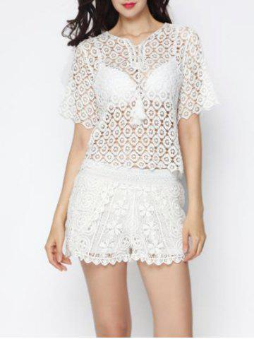 Affordable Trendy Crochet Cut Out Cover-Up Top