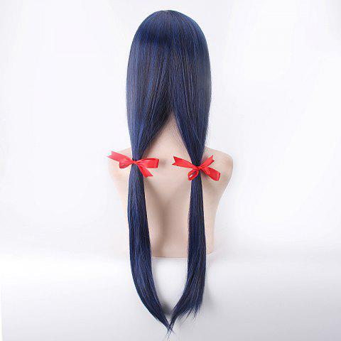 Fashion Long Straight Blue Mixed Black Synthetic Love Live Sonoda Umi Uniform Style Cosplay Wig - BLUE AND BLACK  Mobile