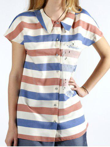 Shops Chic Short Sleeve Colorful Striped Shirt