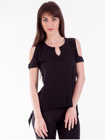 Outfits Chic Cold Shoulder Asymmetric T-Shirt