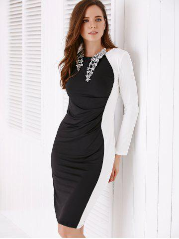 Chic Chic Long Sleeve White and Black Women's Bodycon Dress