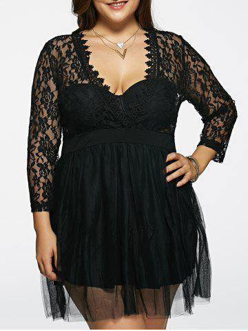 Buy Plunging Neck Lace Splicing See-Through Plus Size Dress