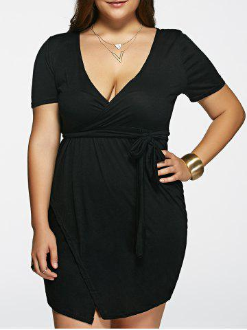 Trendy Stylish Plunging Neck Solid Color Short Sleeve Black Plus Size Dress For Women