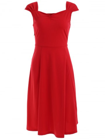 Cheap Vintage Sleeveless Sweetheart Neck Solid Color Dress For Women