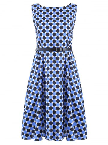 Outfits Vintage Round Neck Polka Dot Print Sleeveless Dress For Women