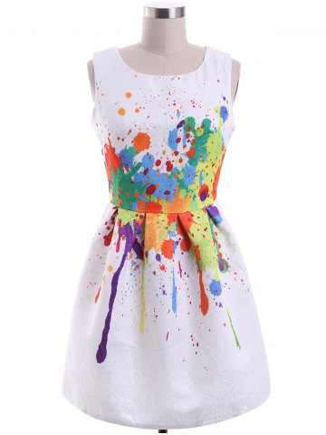 Sale Sweet Colorful Print Round Collar Women's Dress
