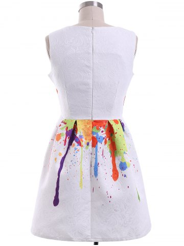 Chic Sweet Colorful Print Round Collar Women's Dress - XL WHITE Mobile