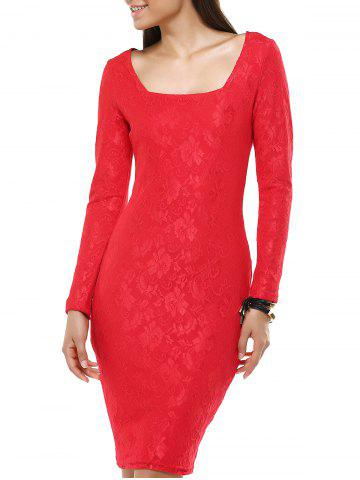 Buy Ladylike Long Sleeve Jacquard Bodycon Dress For Women