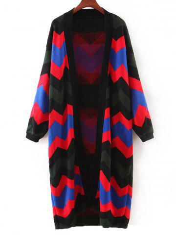 Trendy Fashionable Hit Color Zig-Zag Cardigan