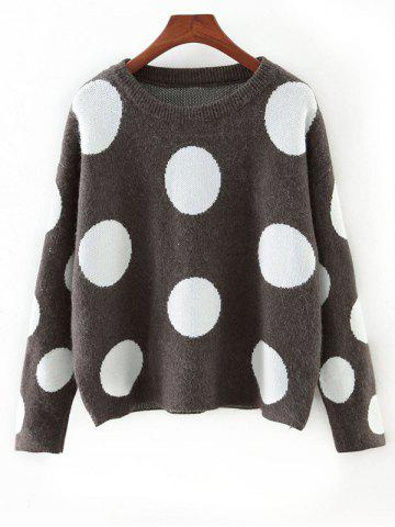 New Cute Polka Dot Color Block Sweater GRAY ONE SIZE