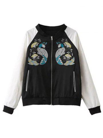 Buy Peacock Embroidery Color Block Jacket
