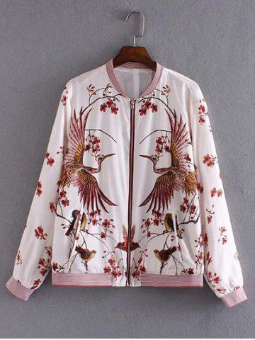 Affordable Floral and Birds Pattern Bomber Jacket WHITE L