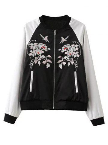 Discount Floral Embroidery Bomber Jacket