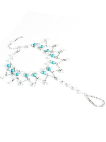 Affordable Graceful Faux Turquoise Wedding Jewelry Beaded Anklets - SILVER  Mobile