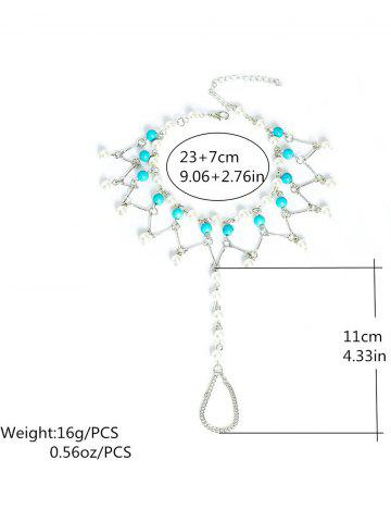 Trendy Graceful Faux Turquoise Wedding Jewelry Beaded Anklets - SILVER  Mobile