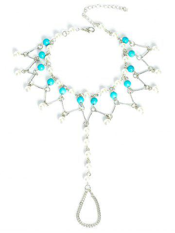 Latest Graceful Faux Turquoise Wedding Jewelry Beaded Anklets - SILVER  Mobile